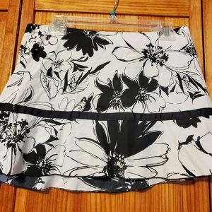 Black and white floral mini skirt